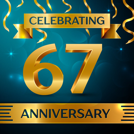 Realistic Sixty seven Years Anniversary Celebration Design. Golden confetti and gold ribbon on blue background. Colorful Vector template elements for your birthday party Illusztráció