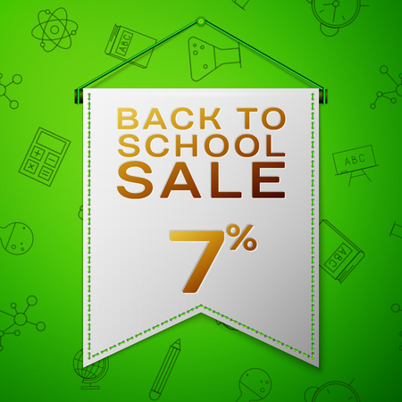 Realistic Grey pennant with inscription Back to School Sale Seven percent Discounts on green background. Seamless pattern with school elements. Sale concept for shops store. Vector illustration