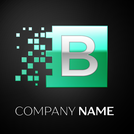 Silver Letter B logo symbol in the green colorful square with shattered blocks on black background. Vector template for your design