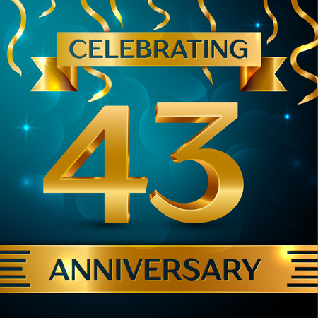 Realistic Forty three Years Anniversary Celebration Design. Golden confetti and gold ribbon on blue background. Colorful Vector template elements for your birthday party Illustration