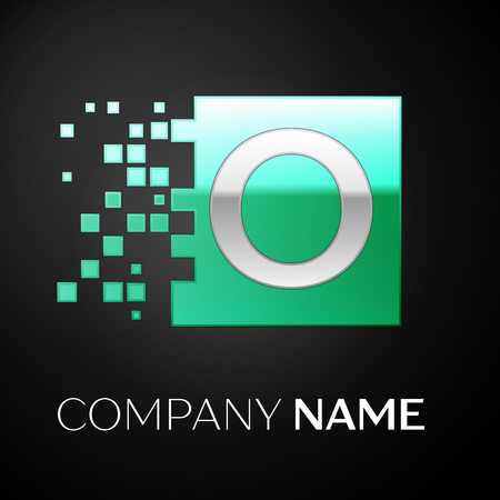Silver Letter O logo symbol in the green colorful square with shattered blocks on black background. Vector template for your design Illusztráció