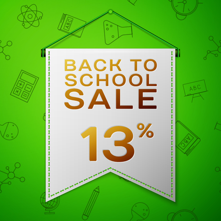 Realistic Grey pennant with inscription Back to School Sale Thirteen percent Discounts on green background. Seamless pattern with school elements. Sale concept for shops store. Vector illustration