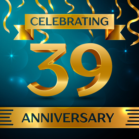 Realistic Thirty nine Years Anniversary Celebration Design. Golden confetti and gold ribbon on blue background. Colorful Vector template elements for your birthday party