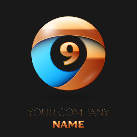 Realistic Golden Number Nine logo symbol in the colorful golden-blue circle shape on black background. Vector template for your design