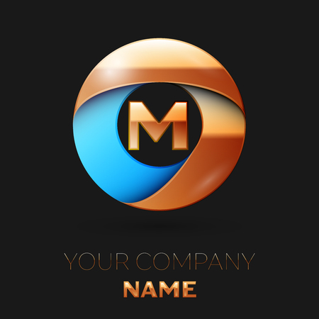 Realistic Golden Letter M logo symbol in the colorful golden-blue circle shape on black background. Vector template for your design