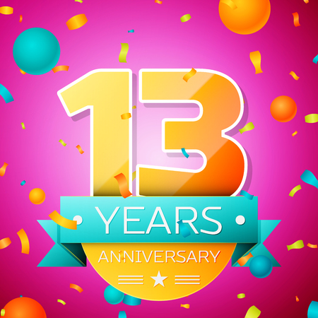 Realistic Thirteen Years Anniversary Celebration design banner. Gold numbers and cyan ribbon, balloons, confetti on pink background. Colorful Vector template elements for your birthday party Ilustracja
