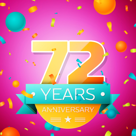Realistic Seventy two Years Anniversary Celebration design banner. Gold numbers and cyan ribbon, balloons, confetti on pink background. Colorful Vector template elements for your birthday party