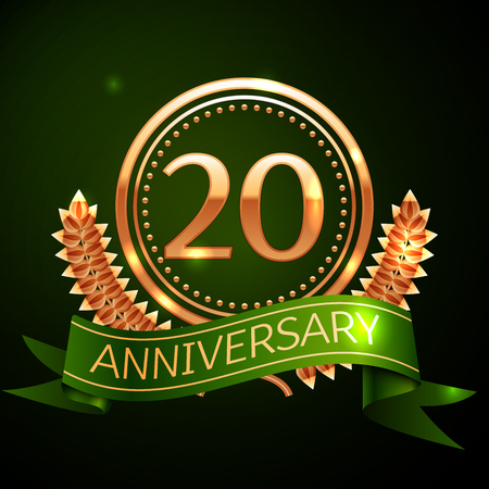 Realistic Twenty Years Anniversary Celebration Design with Golden Ring and Laurel Wreath, green ribbon on green background. Colorful Vector template elements for your birthday celebrating party