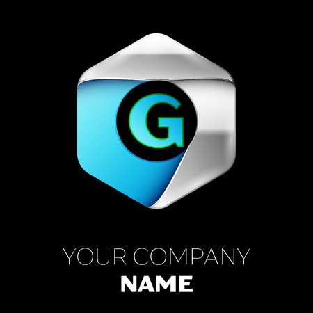 Realistic Blue Letter G logo symbol in the colorful silver-blue hexagonal shape on black background. Vector template for your design