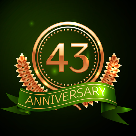 Realistic Forty three Years Anniversary Celebration Design with Golden Ring and Laurel Wreath, green ribbon on green background. Colorful Vector template elements for your birthday celebrating party