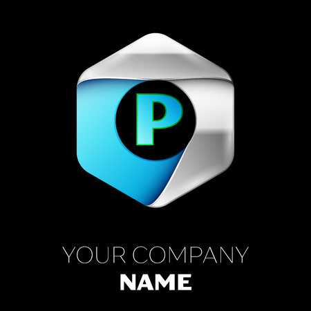 Realistic Blue Letter P logo symbol in the colorful silver-blue hexagonal shape on black background. Vector template for your design