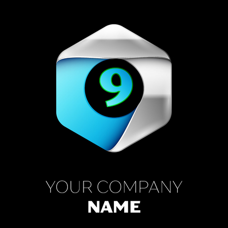 Realistic Blue Number Nine logo symbol in the colorful silver-blue hexagonal shape on black background. Vector template for your design Ilustração