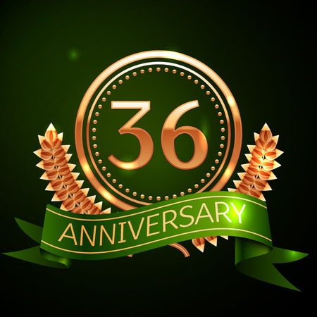 Realistic Thirty six Years Anniversary Celebration Design with Golden Ring and Laurel Wreath, green ribbon on green background. Colorful Vector template elements for your birthday celebrating party