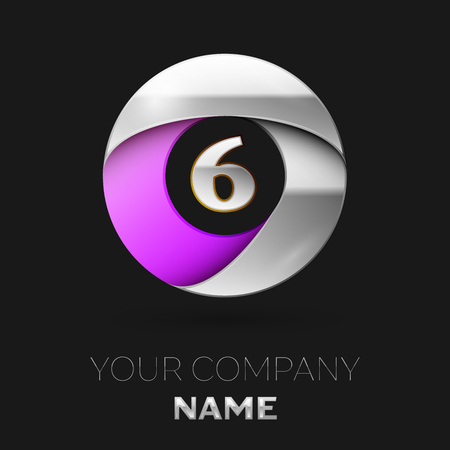 Realistic Silver Number Six logo symbol in the colorful silver-purple circle shape on black background. Vector template for your design