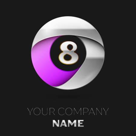 Realistic Silver Number Eight logo symbol in the colorful silver-purple circle shape on black background. Vector template for your design Illustration