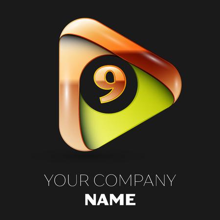 Realistic Golden Number Nine logo symbol in golden-green triangle shape on black background. Vector template for your design