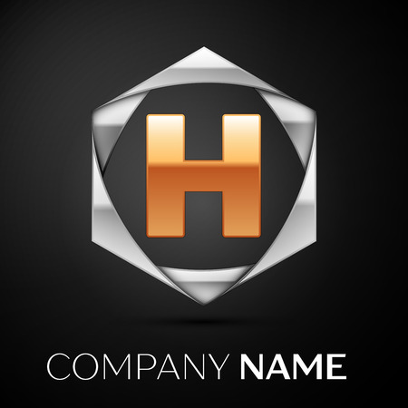 111712c3 Gold Letter H logo symbol in the colorful silver hexagonal on black  background. Vector template