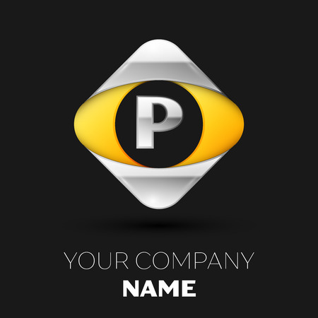 Realistic Silver Letter P logo symbol in the colorful silver-yellow square shape on black background. Vector template for your design