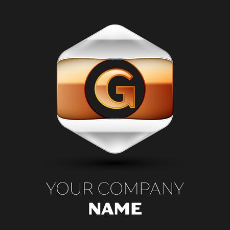 Realistic Golden Letter G logo symbol in the colorful silver-golden hexagonal shape on black background. Vector template for your design Illusztráció