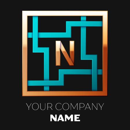 Símbolo del logotipo de la letra N de oro realista en la forma de laberinto cuadrado colorido cian-dorado sobre fondo negro. El logo simboliza el laberinto, elección del camino correcto, soluciones. Plantilla de vector para su diseño