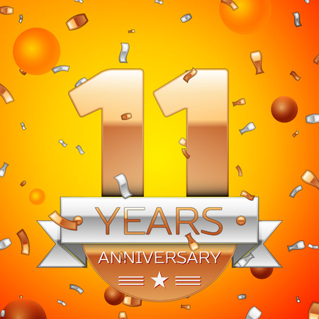 Realistic Eleven Years Anniversary Celebration design banner. Gold numbers and silver ribbon, balloons, confetti on orange background. Colorful Vector template elements for your birthday party Stock Illustratie