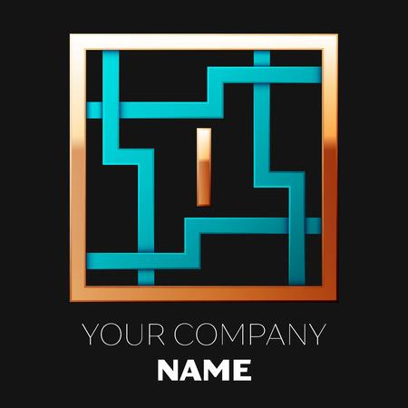 Realistisches goldenes Buchstaben-I-Logo-Symbol in der cyan-goldenen bunten quadratischen Labyrinthform auf schwarzem Hintergrund. Das Logo symbolisiert Labyrinth, Wahl des richtigen Weges, Lösungen. Vektorschablone für Ihr Design