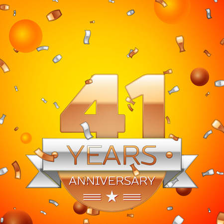 Realistic Forty one Years Anniversary Celebration design banner. Gold numbers and silver ribbon, balloons, confetti on orange background. Colorful Vector template elements for your birthday party
