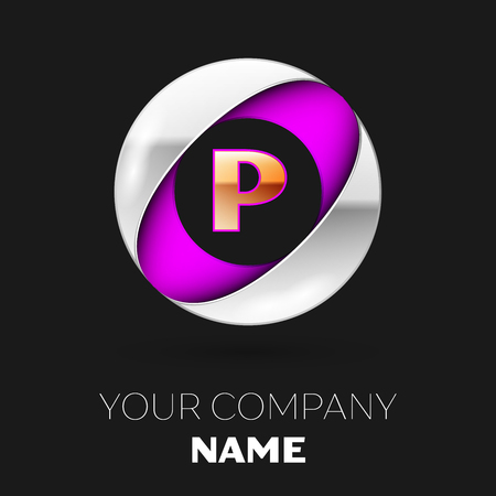 Realistic Golden Letter P logo symbol in the silver-purple colorful circle shape on black background. Vector template for your design