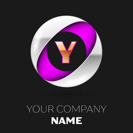 Realistic Golden Letter Y logo symbol in the silver-purple colorful circle shape on black background. Vector template for your design