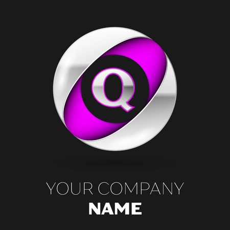 Realistic Silver Letter Q logo symbol in the silver-purple colorful circle shape on black background. Vector template for your design