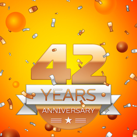 Realistic Forty two Years Anniversary Celebration design banner. Gold numbers and silver ribbon, balloons, confetti on orange background. Colorful Vector template elements for your birthday party