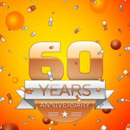 Realistic Sixty Years Anniversary Celebration design banner. Gold numbers and silver ribbon, balloons, confetti on orange background. Colorful Vector template elements for your birthday party 일러스트