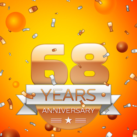 Realistic Sixty eight Years Anniversary Celebration design banner. Gold numbers and silver ribbon, balloons, confetti on orange background. Colorful Vector template elements for your birthday party 일러스트
