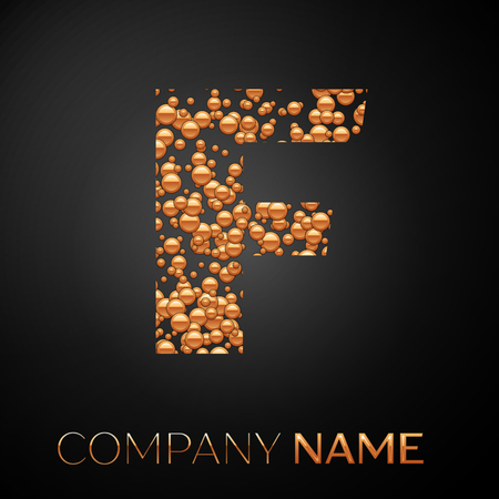 Letter F logo gold dots. Alphabet logotype with abstract golden bubbles shape on black background. Vector template for your design Ilustração