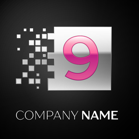 Pink Number Nine logo symbol in the silver colorful square with shattered blocks on black background. Vector template for your design Ilustração