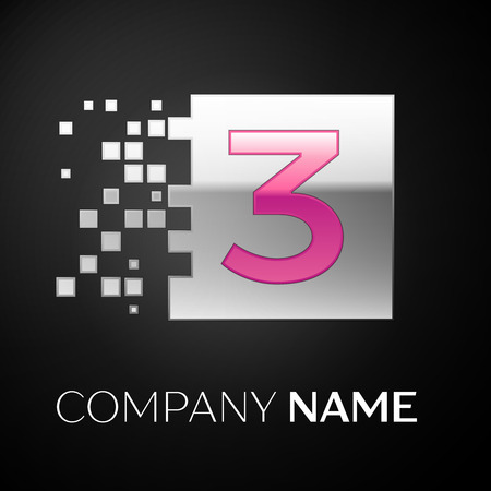 Pink Number Three logo symbol in the silver colorful square with shattered blocks on black background. Vector template for your design Illusztráció