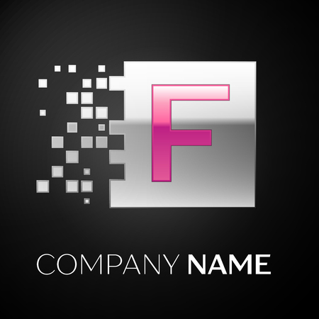 Pink Letter F logo symbol in the silver colorful square with shattered blocks on black background. Vector template for your design