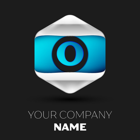 Realistic Blue Letter O logo symbol in the colorful silver-blue hexagonal shape on black background. Vector template for your design