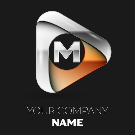 Realistic Silver Letter M logo symbol in golden-silver triangle shape on black background. Vector template for your design Illustration