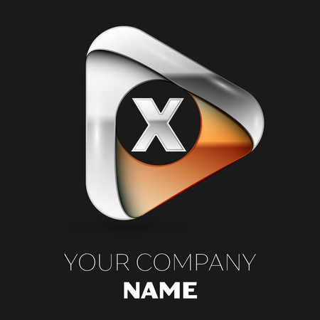 Realistic Silver Letter X logo symbol in golden-silver triangle shape on black background. Vector template for your design
