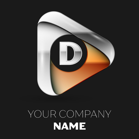 Realistic Silver Letter D logo symbol in golden-silver triangle shape on black background. Vector template for your design Stock Illustratie
