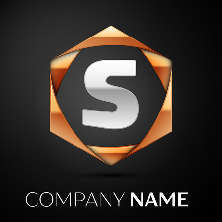 Silver Letter S logo symbol in the colorful golden hexagonal on black background. Vector template for your design