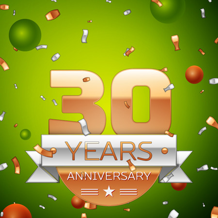 Realistic Thirty Years Anniversary Celebration design banner. Gold numbers and silver ribbon, balloons, confetti on green background. Colorful Vector template elements for your birthday party Ilustração