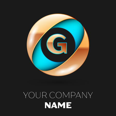 Realistic Golden Letter G logo symbol in the blue-golden colorful circle shape on black background. Vector template for your design Logó