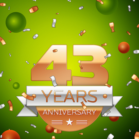 Realistic Forty three Years Anniversary Celebration design banner. Gold numbers and silver ribbon, balloons, confetti on green background. Colorful Vector template elements for your birthday party Illustration