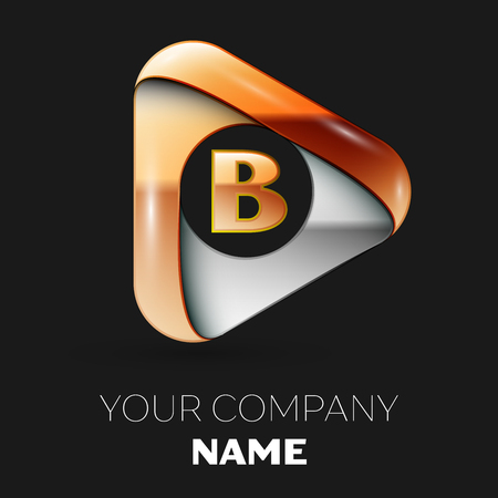 Realistic Golden Letter B logo symbol in golden-silver triangle shape on black background. Vector template for your design