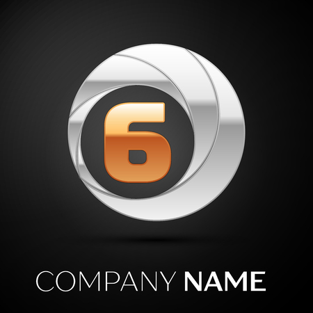 Number Six logo symbol in the golden-silver colorful circle on black background. Vector template for your design