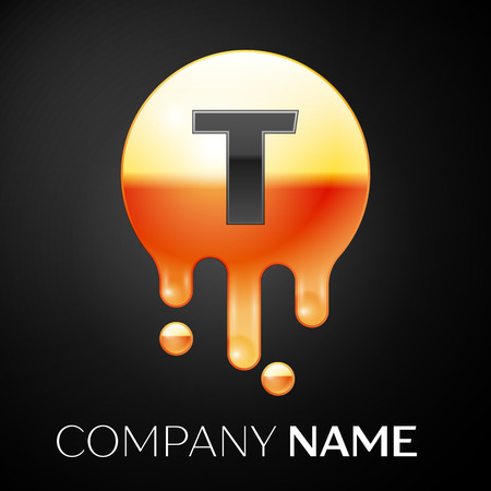 Letter T splash logo. Golden dots and bubbles letter design on black background. Vector Illustration Иллюстрация