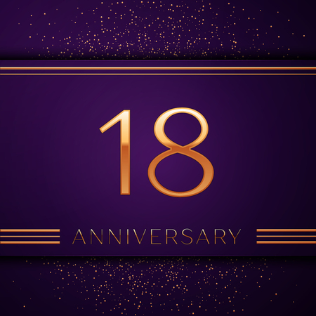 Realistic Eighteen Years Anniversary Celebration design banner. Golden number and confetti on purple background. Colorful Vector template elements for your birthday party Stock Illustratie