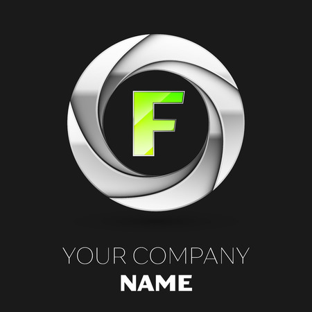 Realistic Green Letter F logo symbol in the silver colorful circle shape on black background. Vector template for your design